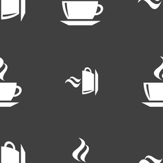 Tea coffee icon sign seamless pattern on a gray vector