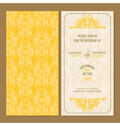 Wedding invitation yellow set vector