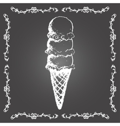 Chalk ice cream cone of three scoops in row vector