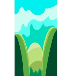 Vertical landscape  green hills and vector