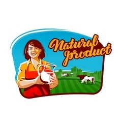 Cow milk logo milkmaid farmer or farm vector