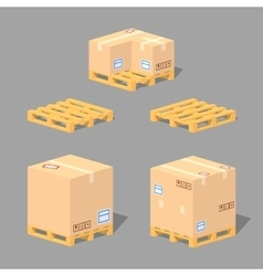 Low poly cardboard boxes on the pallets vector