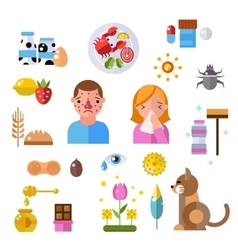 Allergy symbols and people disease information vector