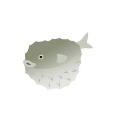 Puffer fish icon isometric 3d style vector image