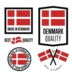 Made in denmark label set vector
