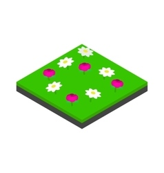 Meadow landscape icon isometric 3d style vector