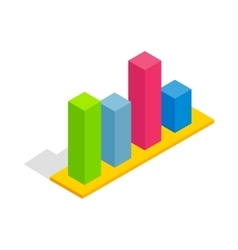 Chart in columns icon isometric 3d style vector