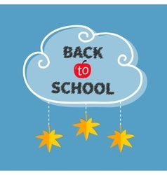 Back to school white cloud contour frame hanging vector