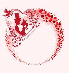 a wreath with many hearts vector image vector image