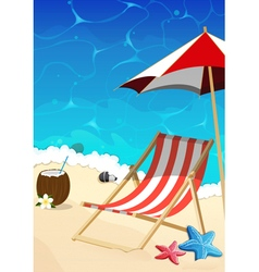 Beach with lounger and umbrella vector image