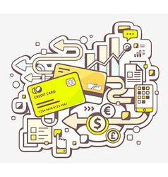 Color of cashless payment via credit cards o vector