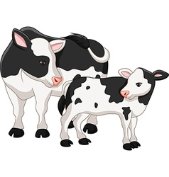 Cute cow mother with baby calf vector image