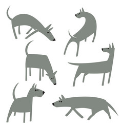 cute simple dogs set cartoon dog characters in vector image