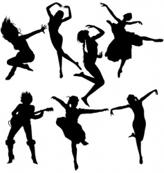 Dancing women silhouettes vector