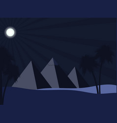 Egyptian pyramids in the desert full moon over vector