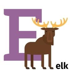 English animals zoo alphabet letter e vector