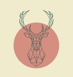 geometric green head of deer wild animal vector image vector image
