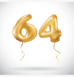 Golden number 64 sixty four metallic balloon vector
