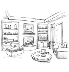 Hand drawn room interior furniture sketch vector