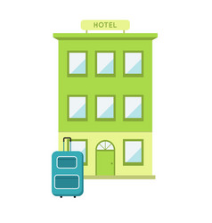 hotel with suitcase flat vector image vector image