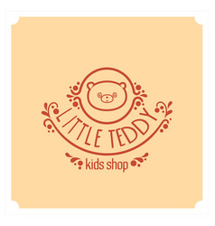 kids shop logo with teddy bear cute kindergarten vector image