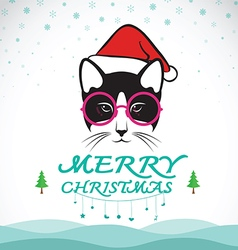 Merry christmas greeting cat card vector image vector image
