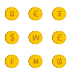 Money of countries icons set flat style vector