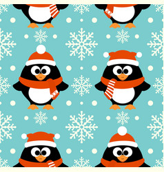 new year seamless background with funny penguin vector image