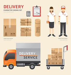 People set delivery shipping service job character vector