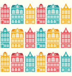 seamless house pattern - dutch amsterdam house vector image