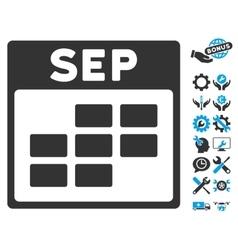 September calendar grid icon with bonus vector