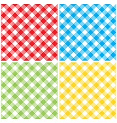 Set checkered colored tablecloth diagonal seamless vector