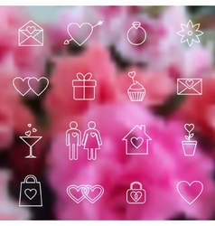 Set of line icons for Valentine day or wedding vector image vector image