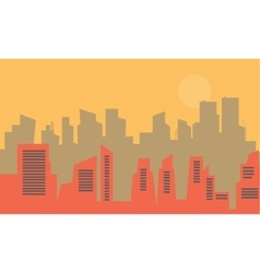 Silhouette of old town flat vector