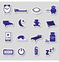 sleeping time blue stickers symbols set eps10 vector image