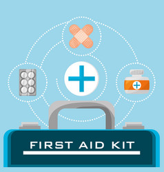 suitcase first aid kit with medical tools vector image vector image