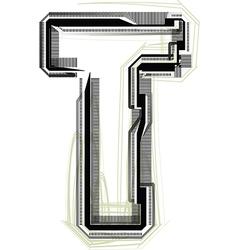 Technological font letter t vector