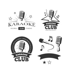 Vintage karaoke vocal party labels badges vector