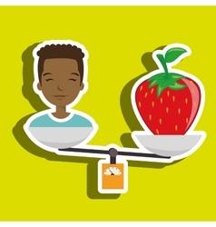 Woman cartoon fruit strawberry food balance vector