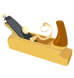 Wooden plane boards and a shaving on a white vector