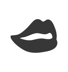 Lips silhouette icon part of boby design vector