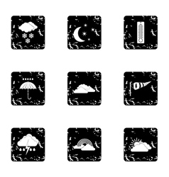 Weather outside icons set grunge style vector