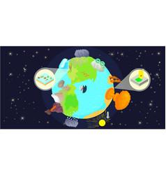 disaster globe horizontal banner cartoon style vector image