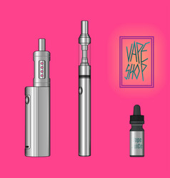 vape shop set pinky background vector image