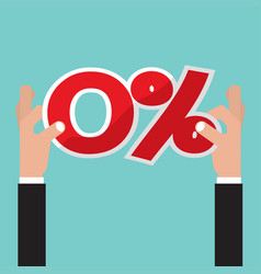 hand catch a zero percent interest symbol vector image