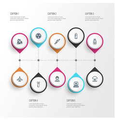 Warfare outline icons set collection of shot vector