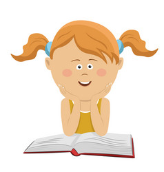 Smart little girl sitting with an open book vector