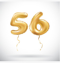 Golden number 56 fifty six metallic balloon party vector