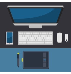 Office workplace top view in flat design vector