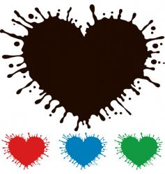 Painted heart with splashes vector